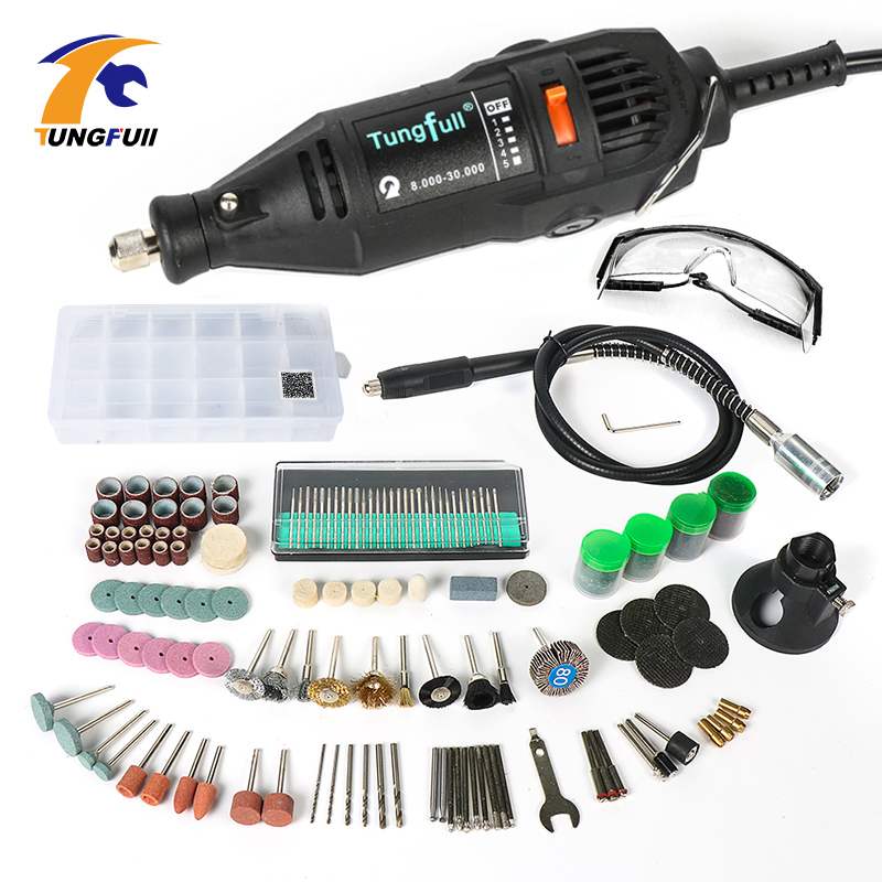 купить Tungfull Electric Drill Rotary Tool Mini Drill With Flexible Shaft 192PC Accessories Power Tools for Dremel 3000 4000 по цене 815.29 рублей