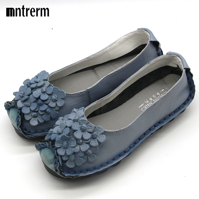 Leisure Genuine Leather Shoes 2016 Women Flats Cut Out Handmade Flower Soft Outsole Women's Flats Mixed Color Plus Thick Crust