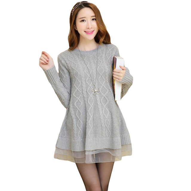 befc09e85c9d 2019 Fashion Organza Patchwork Women's Sweater for Pregnant Women Autumn  Winter Loose Maternity Clothes Pullover Sweaters