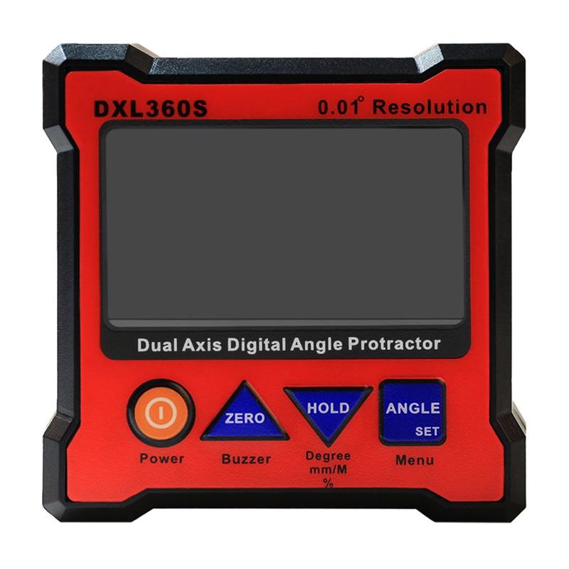 DXL360S Digital LCD Protractor Inclinometer Single Dual Axis Level Box 0.01 degree 0 05 dxl360 s c v2 digital protractor inclinometer dual axis level measure box angle ruler elevation meter svrs 232 pc adapter