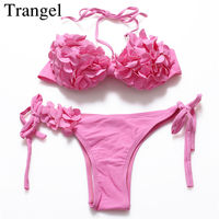 Trangel 2017 Women Floral Pattern Flower Low Waist Breast Cup Padded Strappy Swimwear Pink Color Bathing