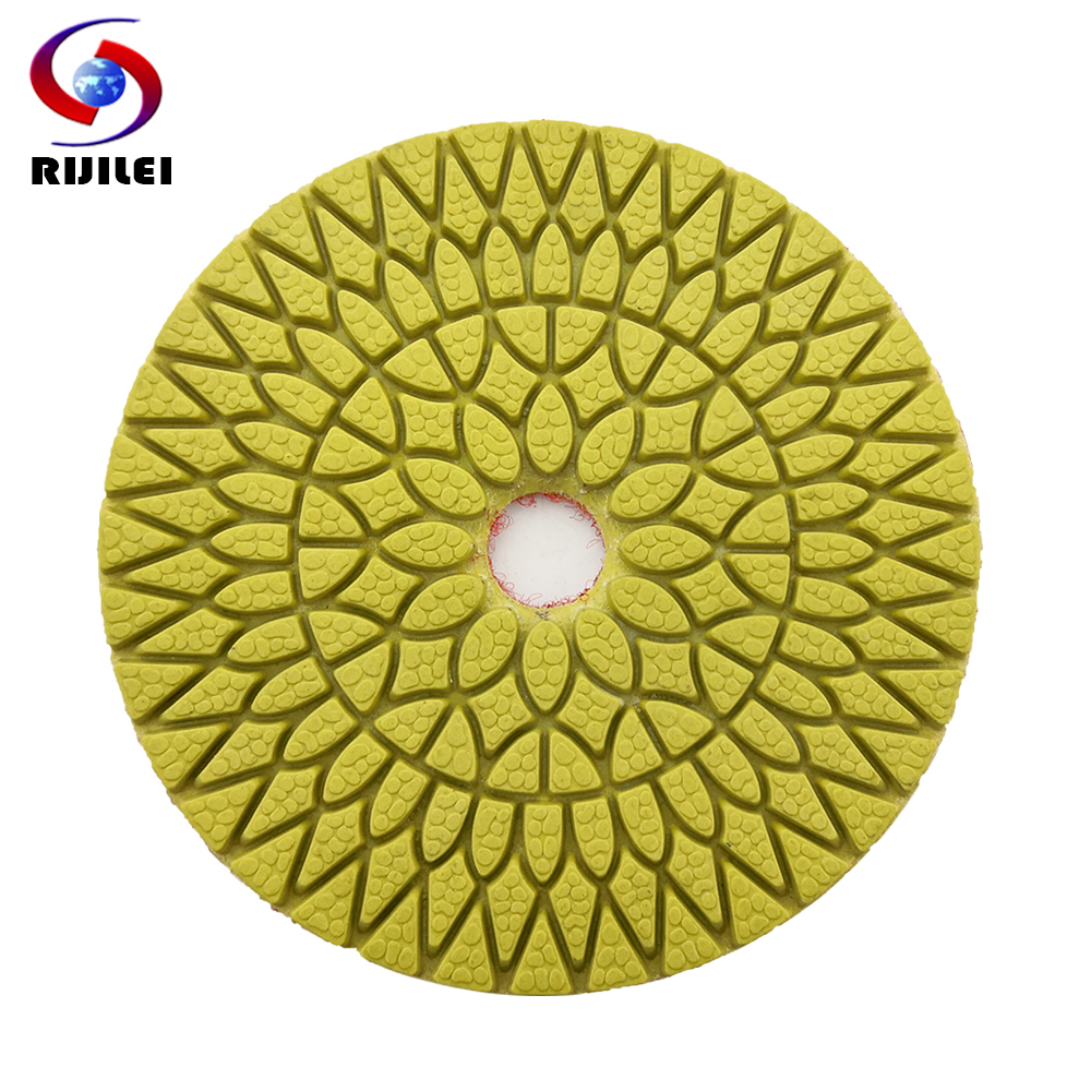 RIJILEI 4 Pcs/lot 4Steps Super Marble Polishing Pads 4inch Diamond Polishing Pads For Granite Wet Flexible Polishing Pad WPD06