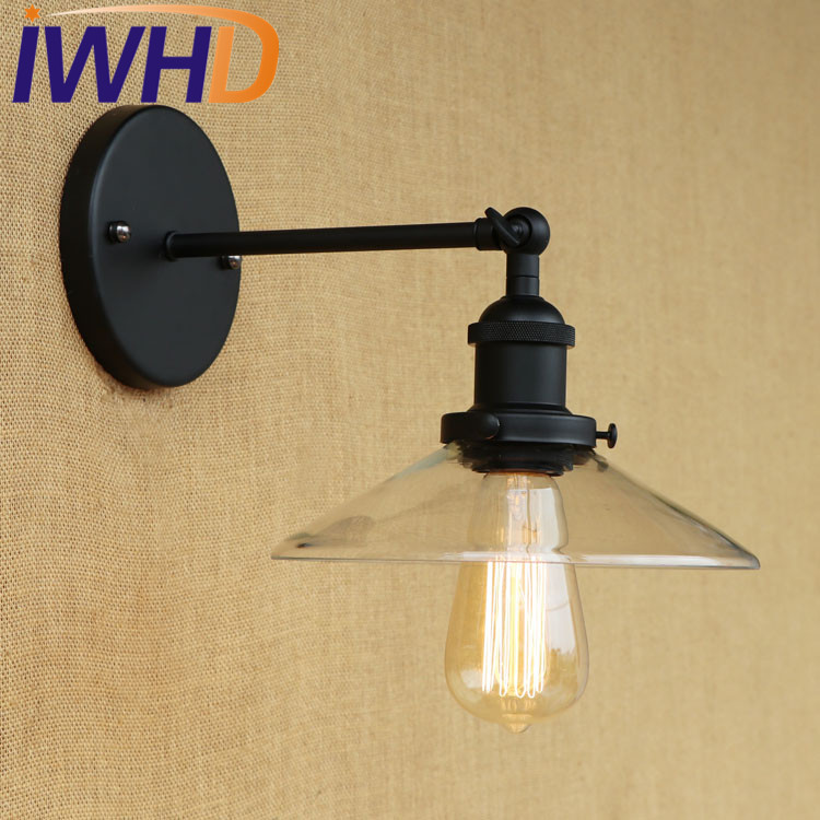 IWHD Loft Style Edison Wall Sconce Iron Glass Vintage Wall Light Fixtures Antique Industrial Wall Lamp Home Lighting Lamparas iwhd american edison loft style antique pendant lamp industrial creative lid iron vintage hanging light fixtures home lighting