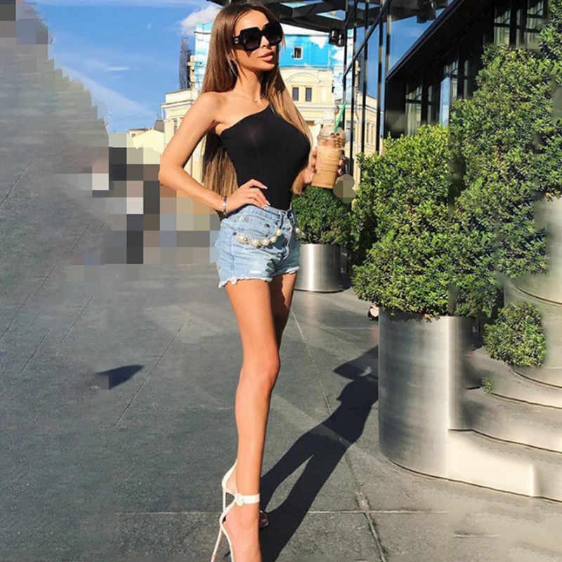 Черный базовый один плечо однотонный комбинезон ребра вязать тонкий женский сексуальный осенний боди 2018 мода один длинный рукав обтягивающий боди