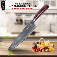 QING 67 Layers VG10 Damascus Steel Kitchen Knives Color Wood Handle 8 inch Chef Knife High Toughness Damascus Kitchen Knife