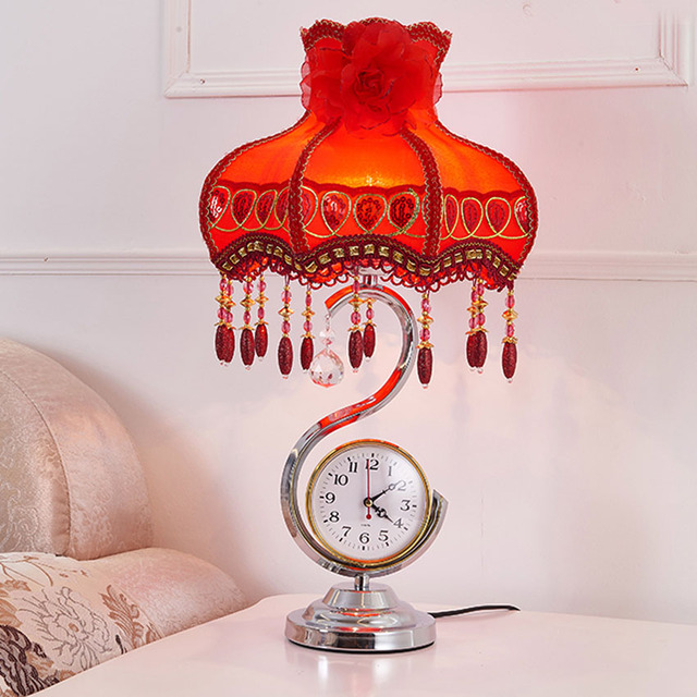Modern Red Violin Princess Desk Lamp Fabric Lampahade European - Red table lamps for bedroom