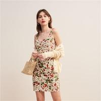 2019 Summer New Strawberry Printed One Step Dress Sexy Strap Sling Mini Dress Women G0522