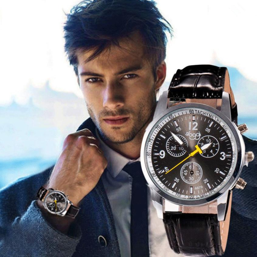 Quartz Wristwatches   Leather Mens Round Business   Hours Watch   High Quality  Classic Casual  Reloj Watch Men 18MAR7