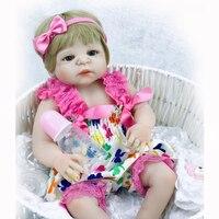 NPK 23 ''전체 실리콘 비닐 거듭나 인형 현실적인 아기 인형 골드 갈색 머리 트윈스 비비, 예쁜 탄생 소녀 생일 선물