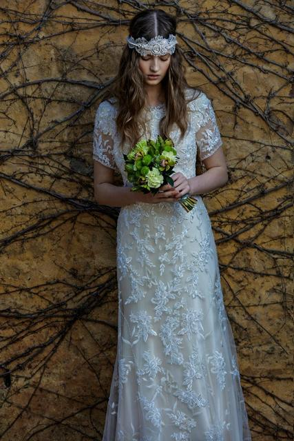 c4e44024b022 Cecelle 2016 Long Mermaid Modest Vintage Lace Boho Wedding Dresses Short  Sleeves Button Jewel Neck Bridal