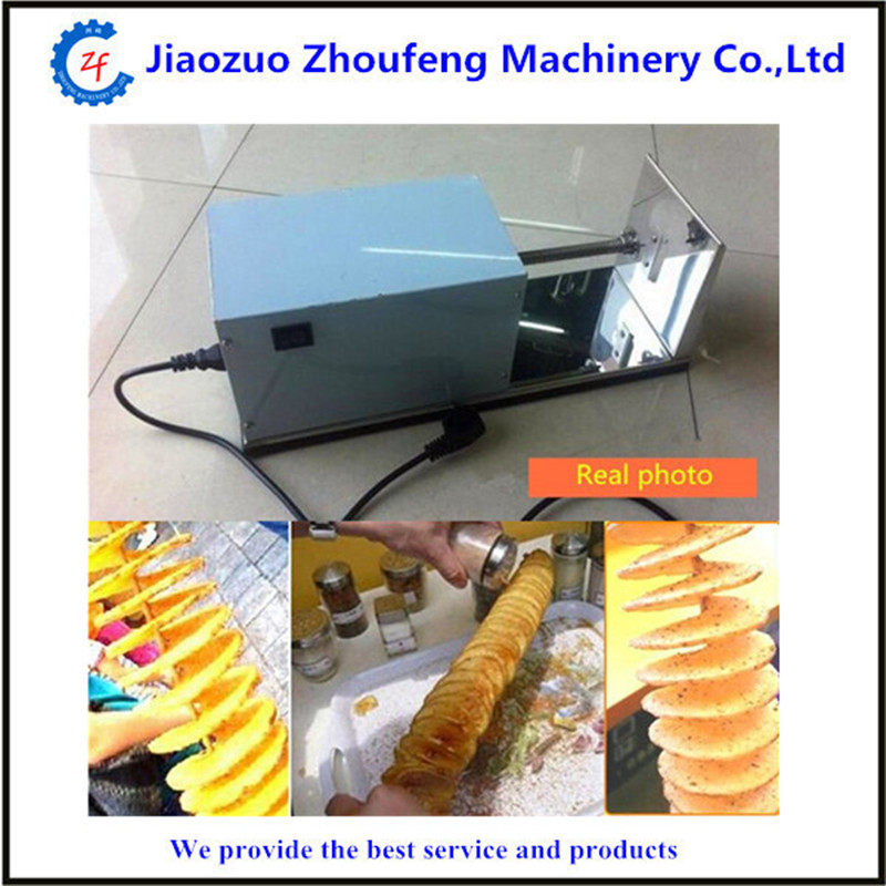 Electric sausage hot dog spiral twister tornado potato cutter curly fries cutter   ZF automatic electric twister tornado potato spiral curly cutter slicer machine