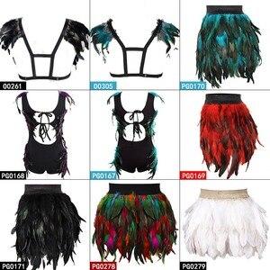 Image 2 - 羽本体ハーネスブラジャーと羽スカート女性のファッションセクシーなケージボンデージランジェリーパンクゴシックダンスフェスティバル着用