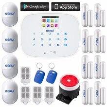 Kerui android ios app sterowania gsm sms voice home dom alarm bezprzewodowy system bezpieczeństwa 433 mhz wsparcie językowe przełącznik