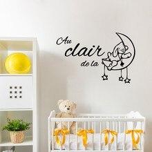 Mignon dessin animé france bébé chambre décoration livraison gratuite Au clair de la lune vinyle stickers muraux français enfants chambre décor