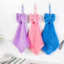 1PC Bow Hanging Hand Towel Absorbent Kitchen Cleaning Towel hanging hair in the kitchen bathroom Hand towel