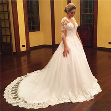 Luxury Bateau Wedding Dress Long Sleeve With Lace Beads Flowers Arab Ball Gown Train 2016 Vestido De Novia