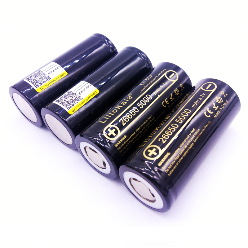 4PCS LiitoKala 26650-50A 5000mah 26650 Li-ion 3.7v Rechargeable Battery for Flashlight 20A new liitokala 26650 battery 26650a lithium battery 3 7v 5100ma 26650 50a blue power battery suitable for flashlight