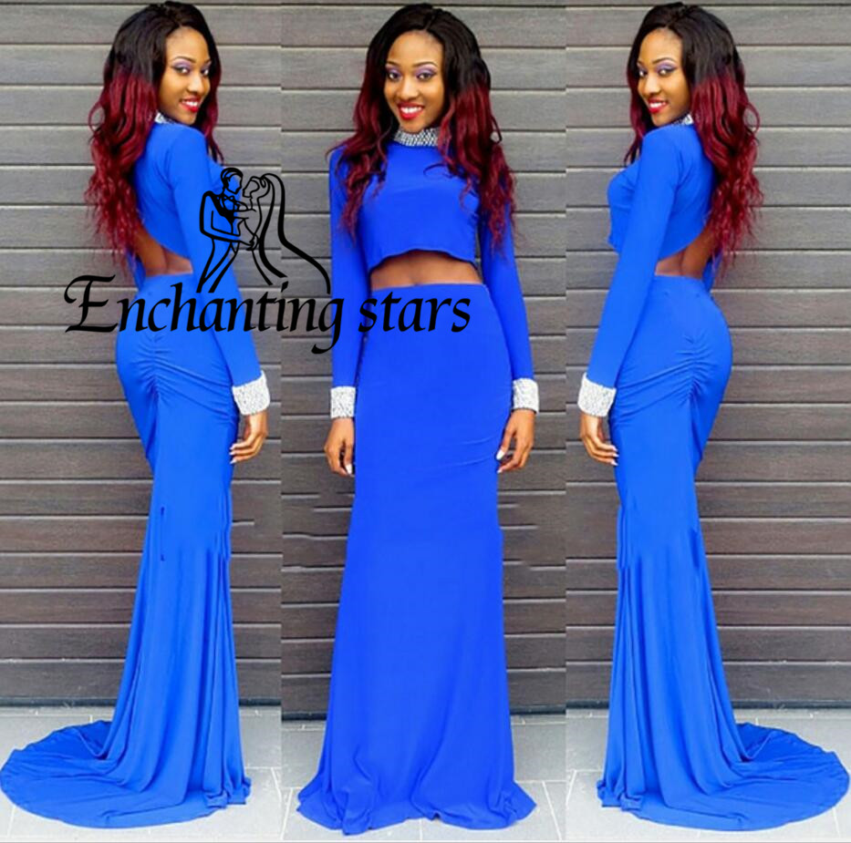 2017 Blue Two Piece Prom Dresses High Neck Beads Long Sleeve Sexy Runway Fashion Backless Hot Special Lady Formal Party Dress - Molibridal_ Store store