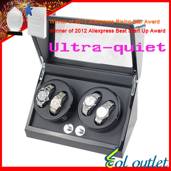 Superior Quality Ultra-quiet Motor Watch Winder for Automatic Mechanical Watch Capacity for 4 Watch new arrival black color carbon fibre wood watch winder german ultra quiet 5 modes watch winder
