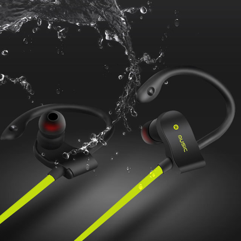 2017 New Wireless Bluetooth Sports Earphone Stereo Bass Ear Hook Waterproof Headphones With Microphone for Smartphone iphone 6 7 ultra light wireless bluetooth stereo headphones earphone headset with microphone for android smartphone iphone7 6 6s tablet pc