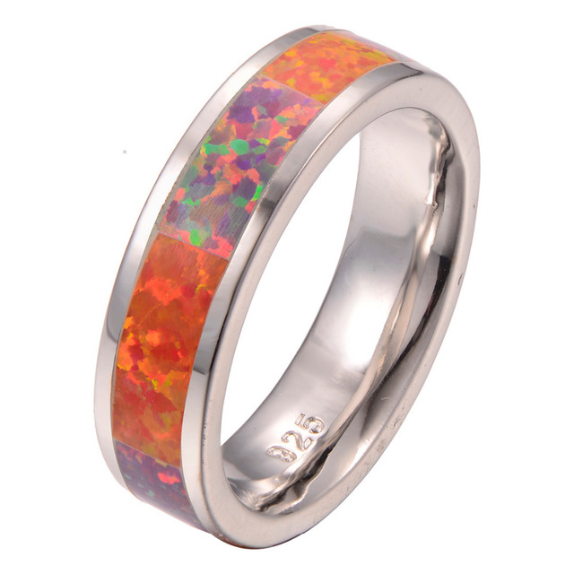 wholesale hotsell Orange Fire Opal 925 Sterling Silver Ring Fashion Ring Size 6 7 8 9 10 F1274