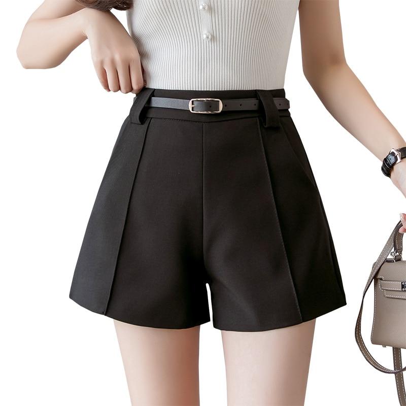 Suit Shorts Women Summer 2019 New High Waist A Line Short Pants White Black Wide Leg Casual Women Shorts Belted Plus Size Shorts