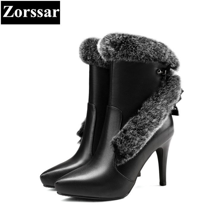 {Zorssar} Luxury brand ladies shoes pointed Toe thin heels ankle boots Fashion Rabbit hair Leather High heels womens snow boots