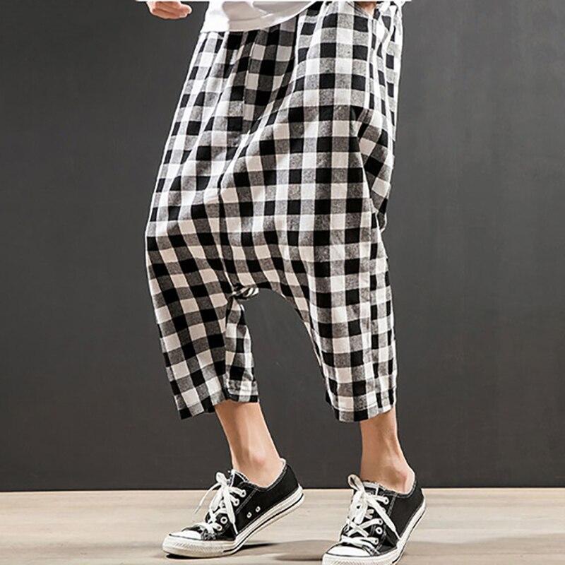 Caliente Nuevos A White Moda Verano De And Algodón pantorrilla Hombres Black Harem Entrepierna Negro Venta 2018 Blanco Ligero Y Casual Cuadros Gran Pantalones Uw5IpSq