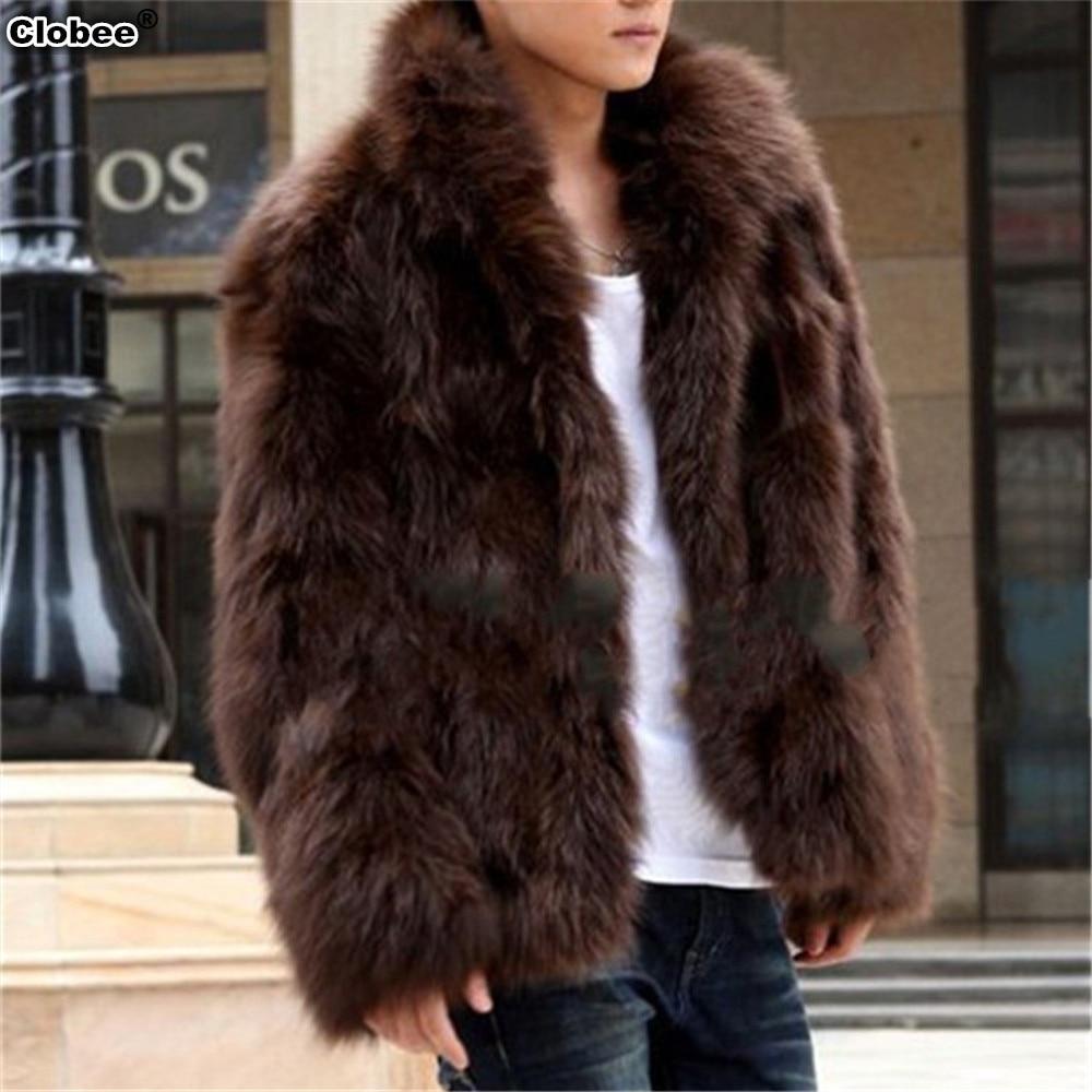 C 2017 Winter Fashion Mens Faux Fur Coat Thick Warm Jackets Full Length Parka Fox Fur Coats Plus Size 3XL Men Overcoat
