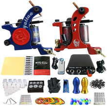 Solong Tattoo Beginner 2 Rotary Tattoo Machine Guns Kits Power Supply Foot Pedal 20 Needles Grip Tip Ink Cup TK201-35