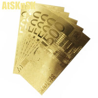 10 قطعة 24 كيلو رقائق الذهب مطلي 500 200 100 50 20 5 10 يورو بيل النقدية وهمية الذهب الأوراق النقدية ورقة المال 100 يورو المال