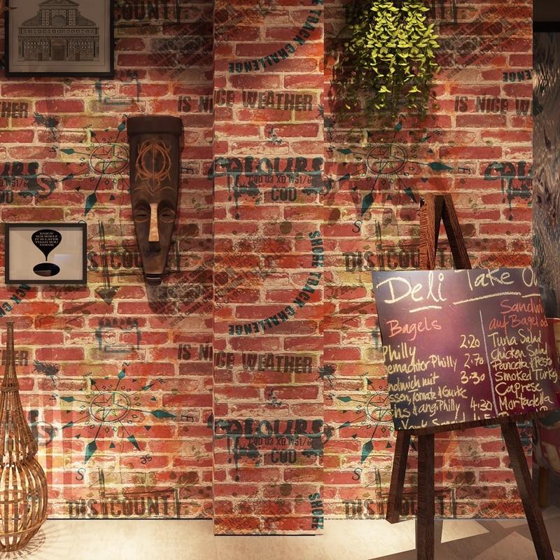 Retro Nostalgia PVC Waterproof Personality Graffiti Art Brick Wall English Letter Wallpaper Roll Cafe Bar Restaurant Decor Paper english letters retro nostalgia art wallpaper pvc deep embossed waterproof durable wall papers home decor living room restaurant