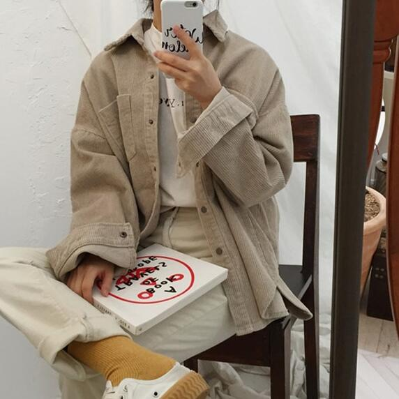f18e820fd6a8c Harajuku Corduroy Jackets Women Winter Coats Plus Size Overcoats Female Big  Tops Cute Jackets Solid Color Clothing Red DC123-in Basic Jackets from  Women s ...