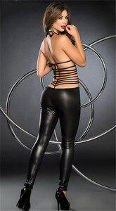 Image 4 - Frauen Sexy Erotische Dessous Body Pole Dance Faux Leder Catsuit Dessous Hot Erotic Latex Body Teddy Sexy Dessous Schwarz