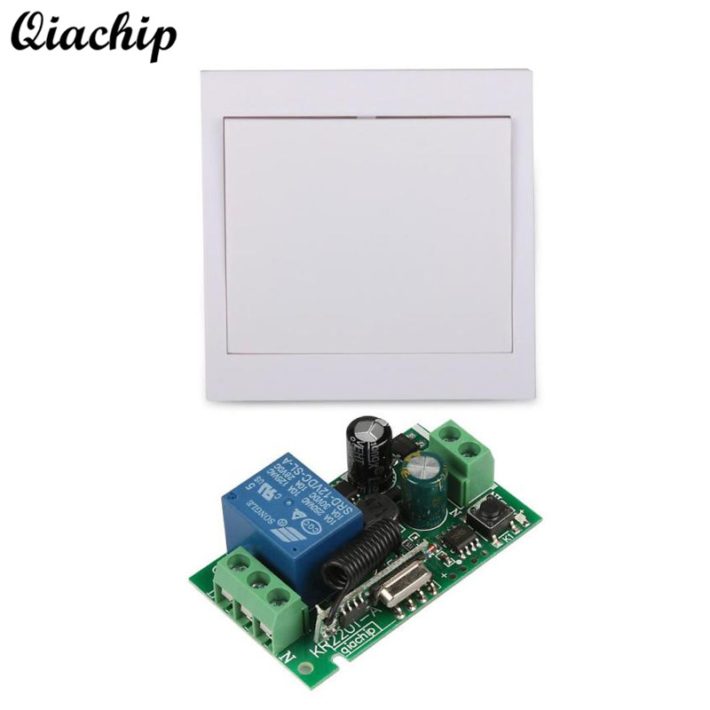 QIACHIP 433Mhz 86 Wall Panel RF Remote Transmitter and AC 110V 220V 1CH 433 Mhz Wireless Remote Control Switch RF Relay Receiver