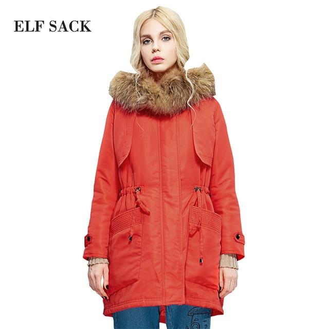 Elf SACK winter female fashion fur collar slim waist with a hood down coat outerwear long design