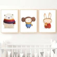 купить!  Кролик Олень Медведь Слон Рождественский Подарок Nordic Плакаты И Отпечатки Wall Art Холст Картины Лучший!