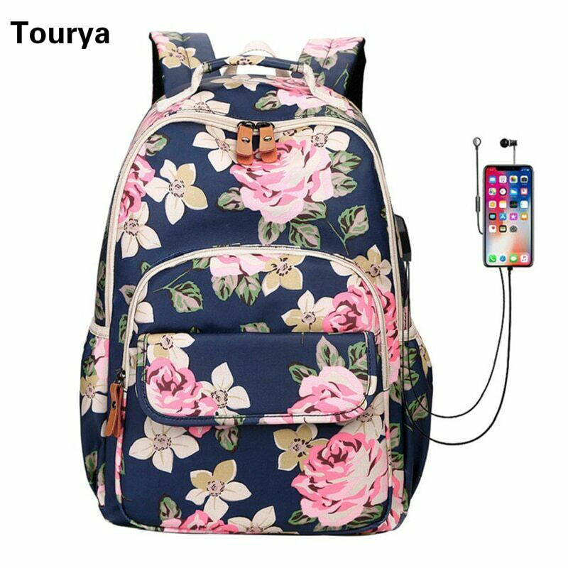 Tourya Fashion Flower Printing Women Backpack Waterproof USB Charge School Bags For Girls Laptop Travel Bagpack Knapsack Mochila