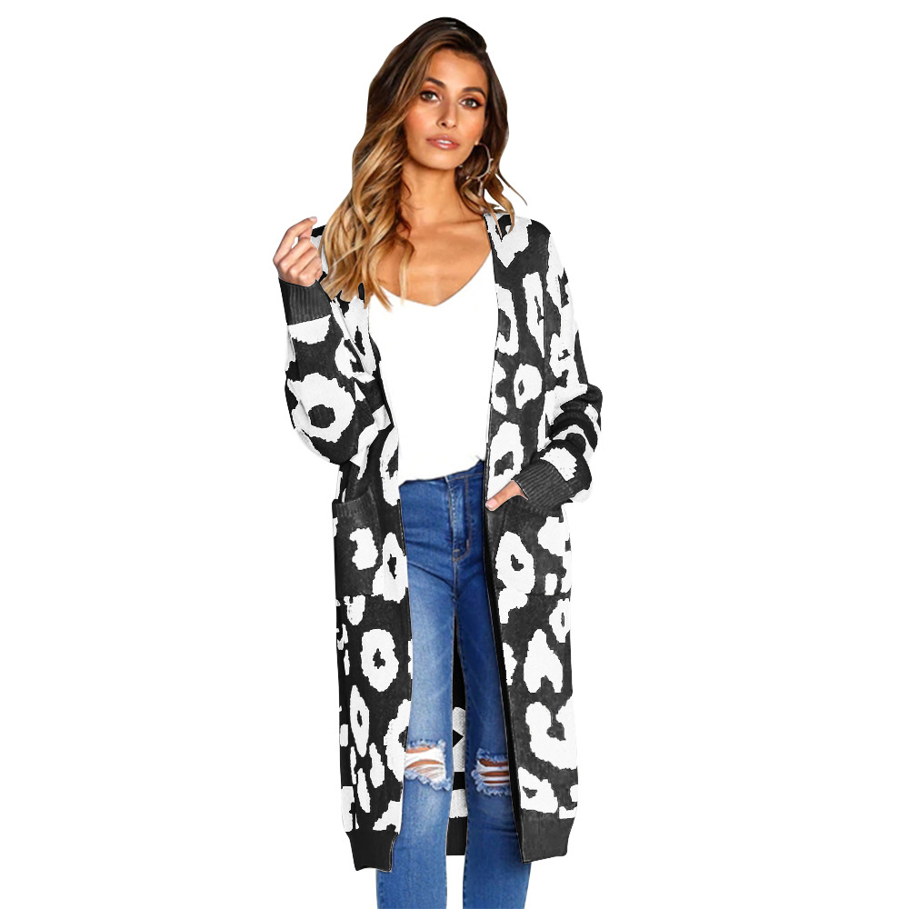 Women Knitted Long Sweaters Autumn Winter Full Sleeve Cardigan Coats Leapard Printed Loose Outwear Tops Oversized Female