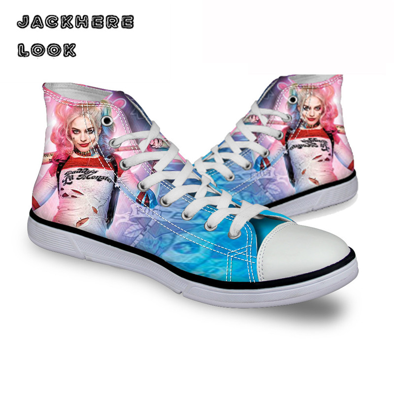 JACKHERELOOK Fashion Women High Canvas Shoes Flats Harley Quinn and Joker Shoes Casual Batman Walking Shoes Female Girl Footwear vintage embroidery women flats chinese floral canvas embroidered shoes national old beijing cloth single dance soft flats
