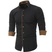 Men Shirt Long Sleeve 2017 Brand Shirts Men Casual Male Slim Fit Fashion Spell Color Chemise