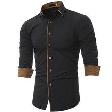 Фотография Men Shirt Long Sleeve 2017 Brand Shirts Men Casual Male Slim Fit Fashion Spell Color Chemise Mens Camisas Dress Shirts 4XL QWQXA