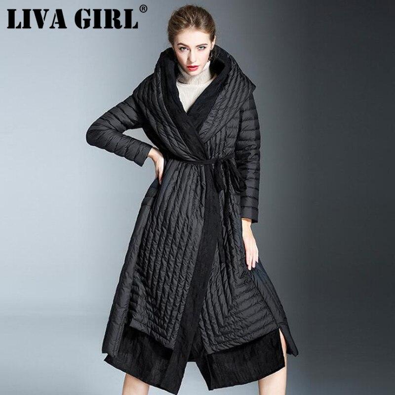 LIVA FILLE Haute Qualité 2018 D'hiver De Mode Nouveau Noir Spliced Capuche Ajustable À la Taille Simple Mi Long Down Veste de Femmes