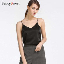 d977e97f9cb941 Fencysweet Women Camis Halter Tank Tops Satin Sexy Camisole V-Neck Solid  Crop Top Female
