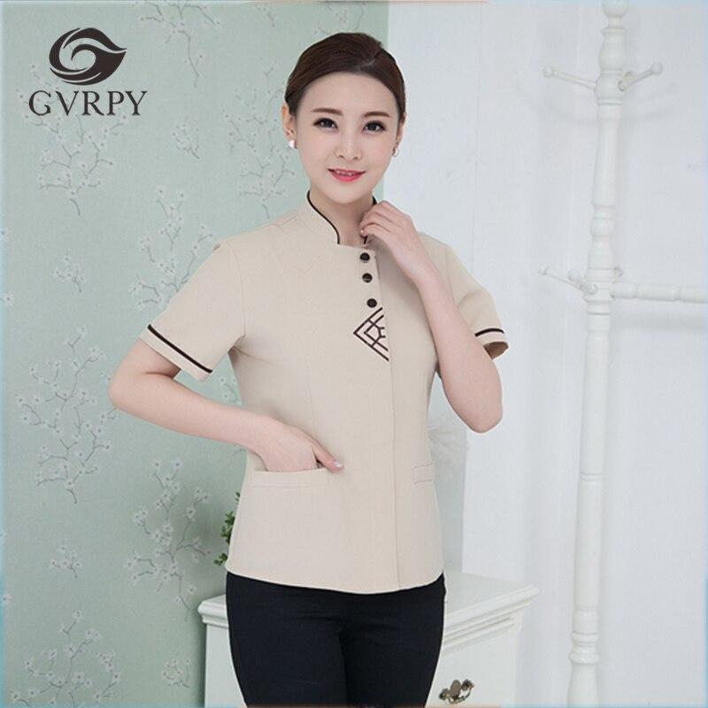 2019 Summer Cleaning Waiter Jacket Short Sleeve Work Uniforms Triangular Embroidery Cleaning Waiter Men Women Food Service Shirt