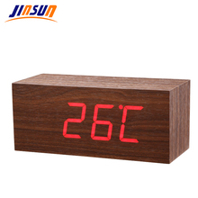 JINSUN Modern Sensor Wood Clock Led Digital Alarm Clocks Table Clock Show Temp Time Voice Control Reloj Despertador Wekker