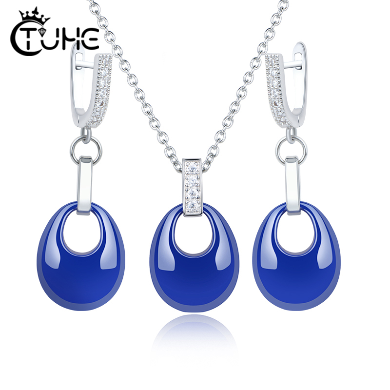 New Design Blue Water Drop Jewelry Set Elegant Temperament Never Lose Color Healthy Ceramic Earrings Necklace Bling Crystal Gift