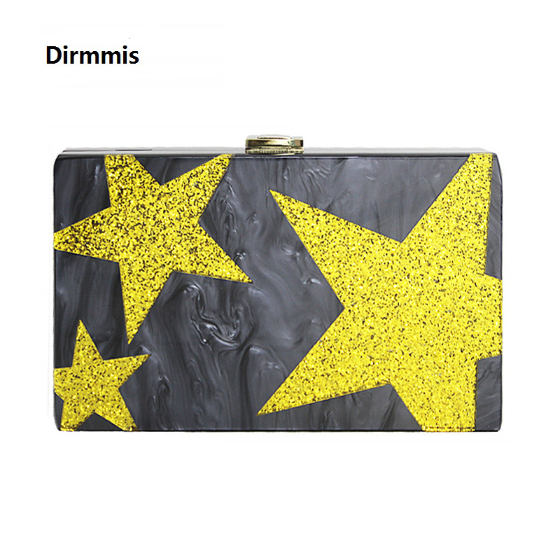 2018 new brand fashion women messenger bag Sequins Cute stitching acrylic Wallet handbag star party evening shoulder box Clutch