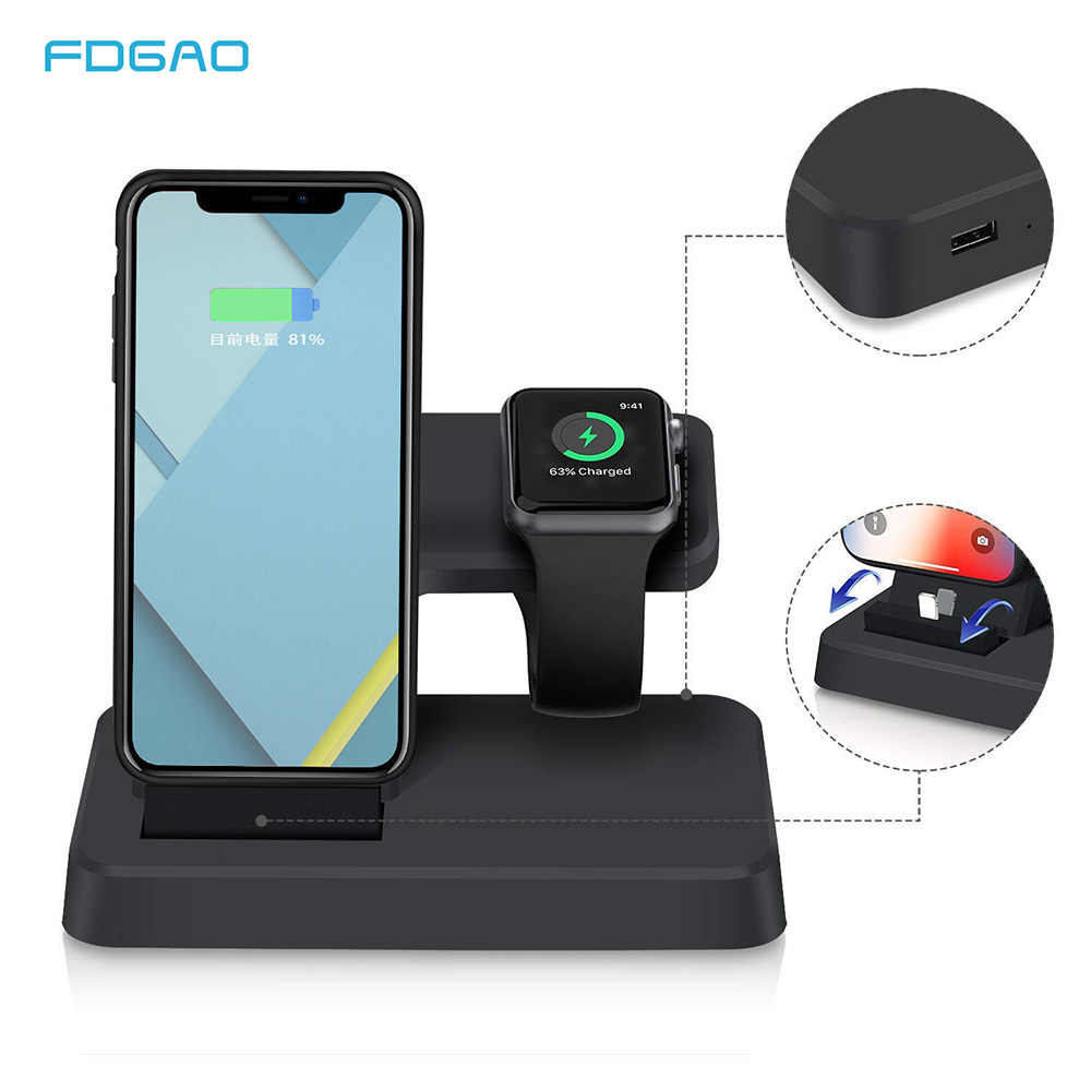Fdgao 2 in 1 Stand di Ricarica del Caricatore del USB per Apple IWatch 2 3 4 IPhone 5 5 S SE 6 6 S 7 8 X XS Max XR Desktop Dock Stazione