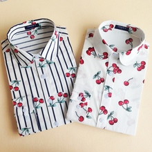 19 Colors Floral Long Sleeve Vintage Blouse Cherry Turn Down Collar Shirt Blusas Feminino Ladies Blouses